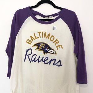 NWT Junk Food Baltimore Ravens Raglan Shirt